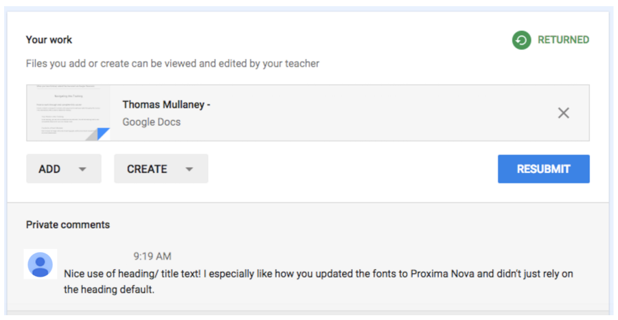 Private comment feedback from a teacher in Google Classroom
