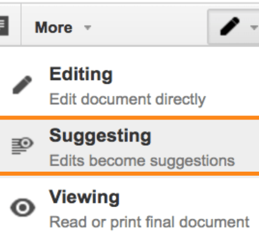 Suggesting Mode in the Google Docs editor.