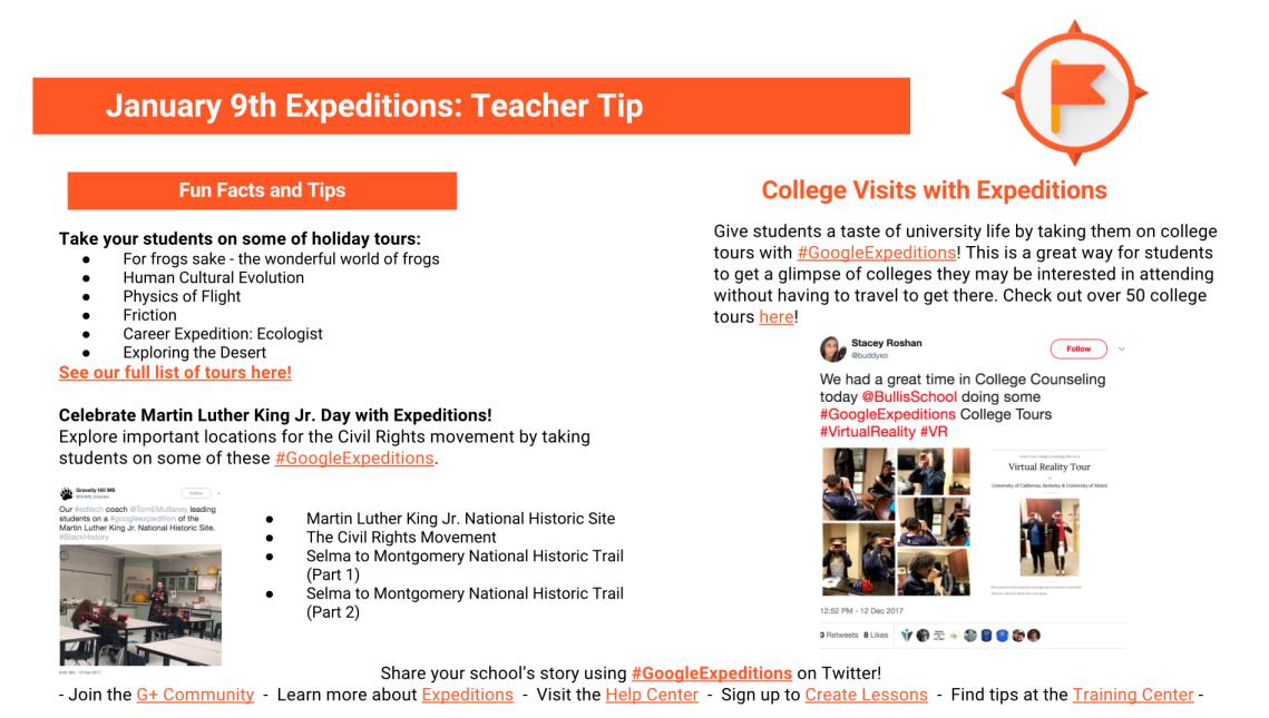 January 9 Google Expeditions Teacher Tip