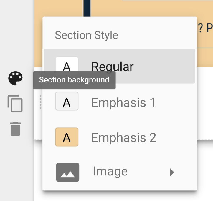 Google Sites Section Style options: Regular, Emphasis 1, Emphasis 2, Image