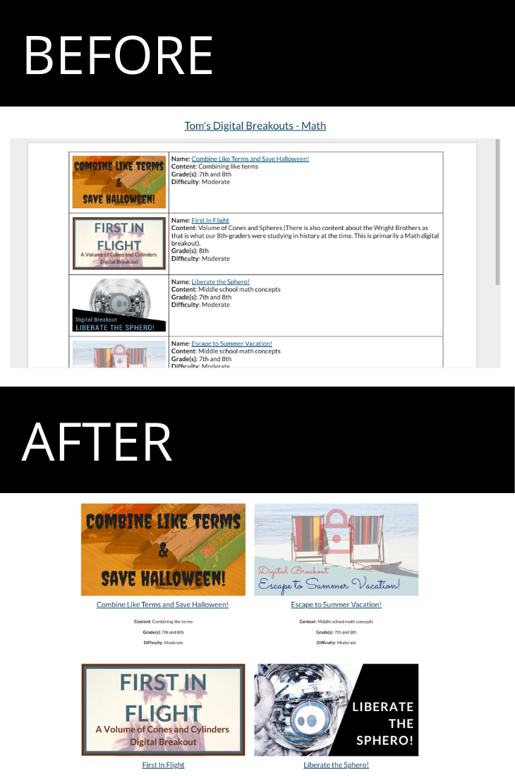 Before and after images of the Math page of my digital breakouts website.
