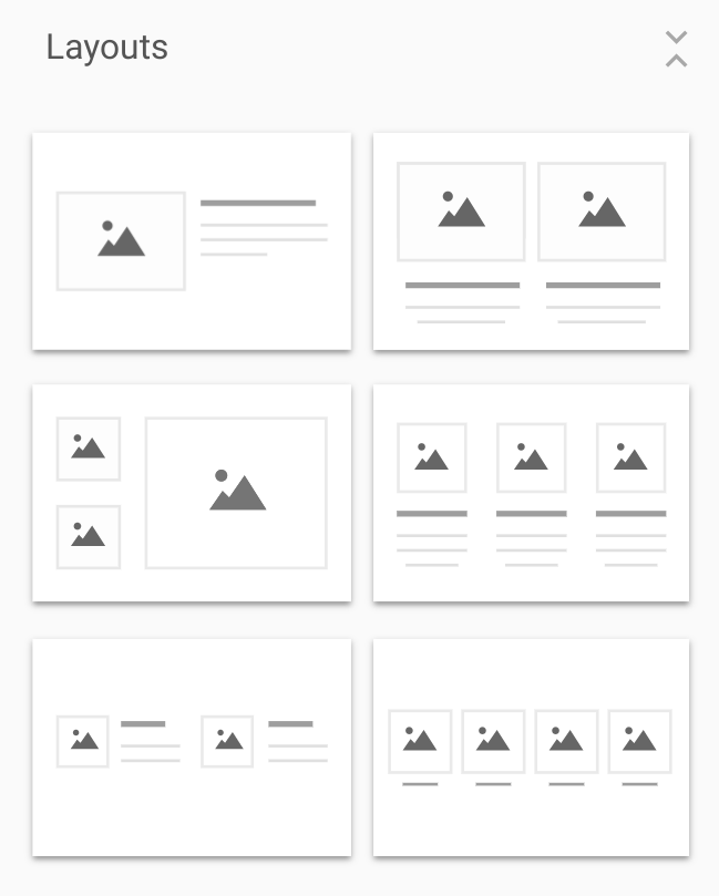 Screenshot of layouts options in the Google Sites editor.