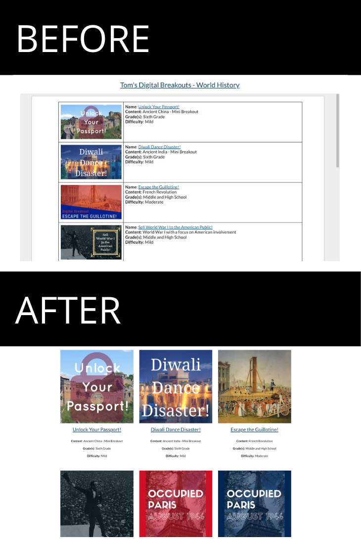 Before and after images of the World History page of my digital breakouts website.