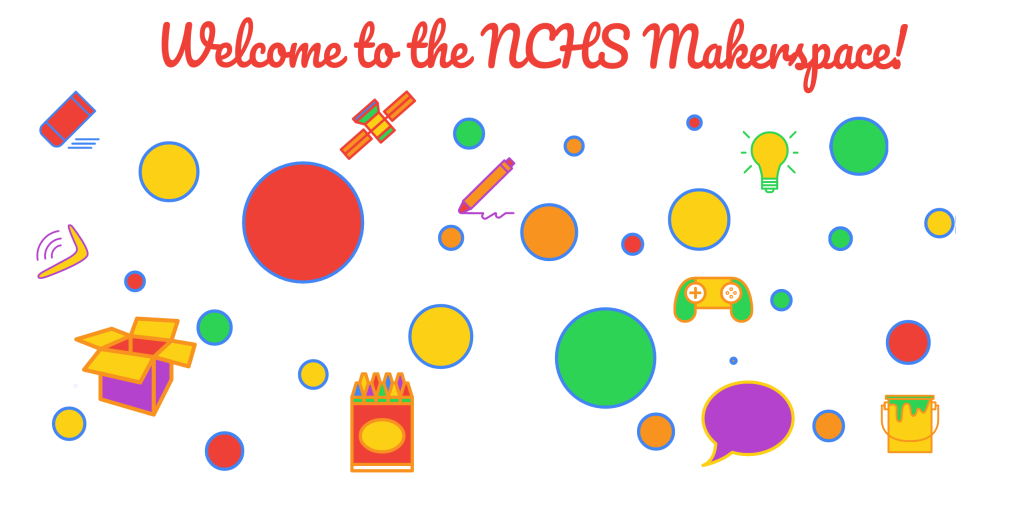 """Welcome to the NCHS Makerspace"" image created by Michelle Luhtala using Autodraw."