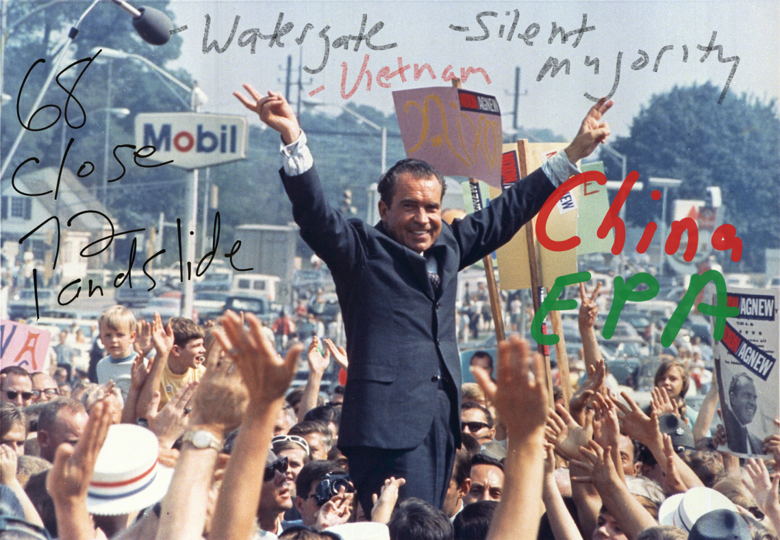 Richard Nixon image with quick annotations about his elections, Watergate, Vietnam, China, and the EPA.