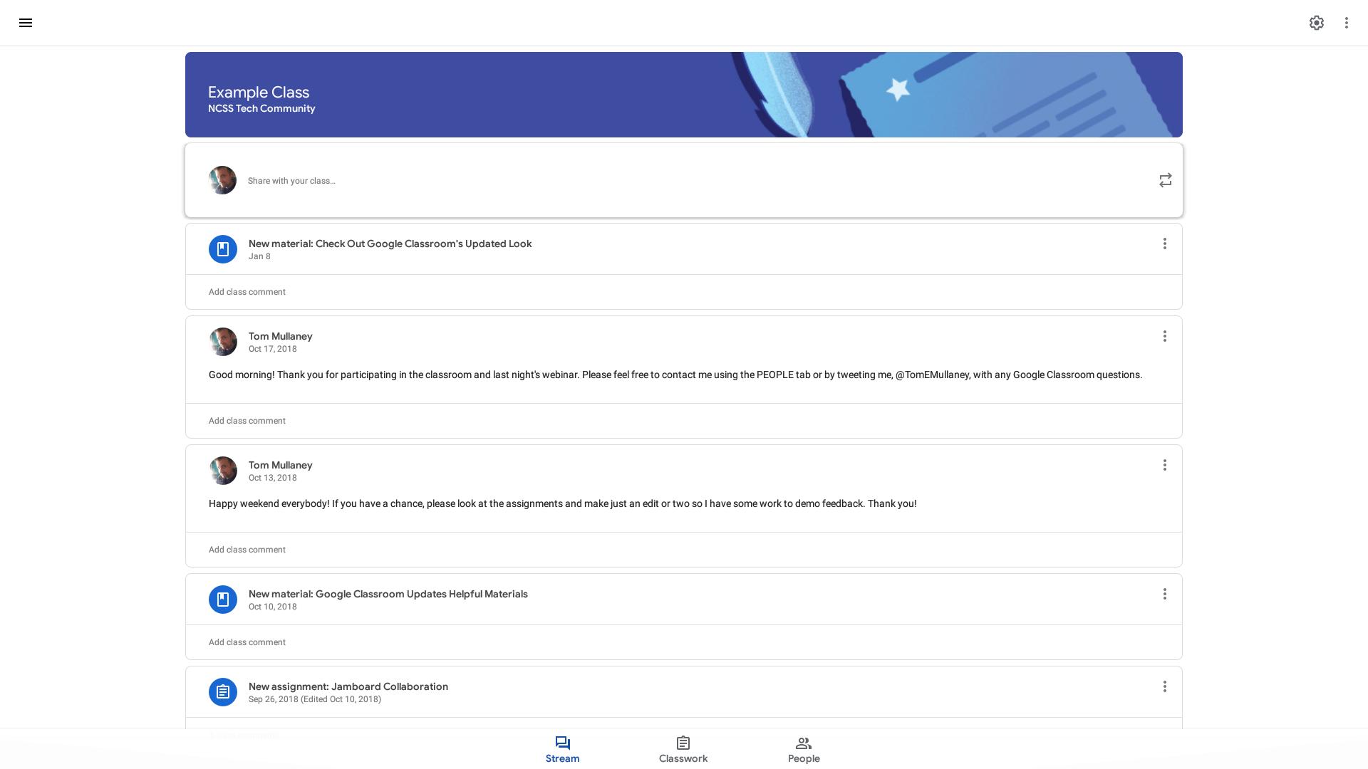 Screenshot of the updated Google Classroom Stream tab