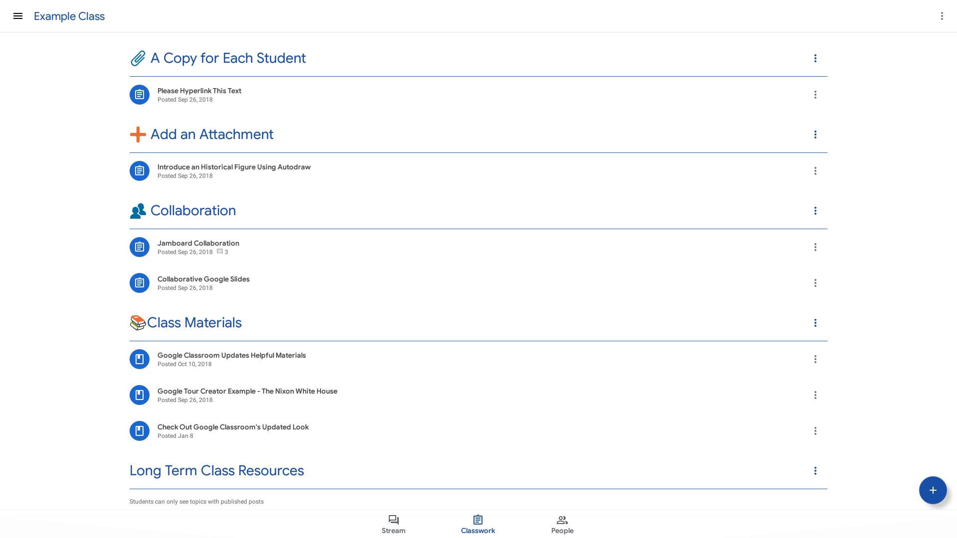 Screenshot of the updated Google Classroom Classwork tab