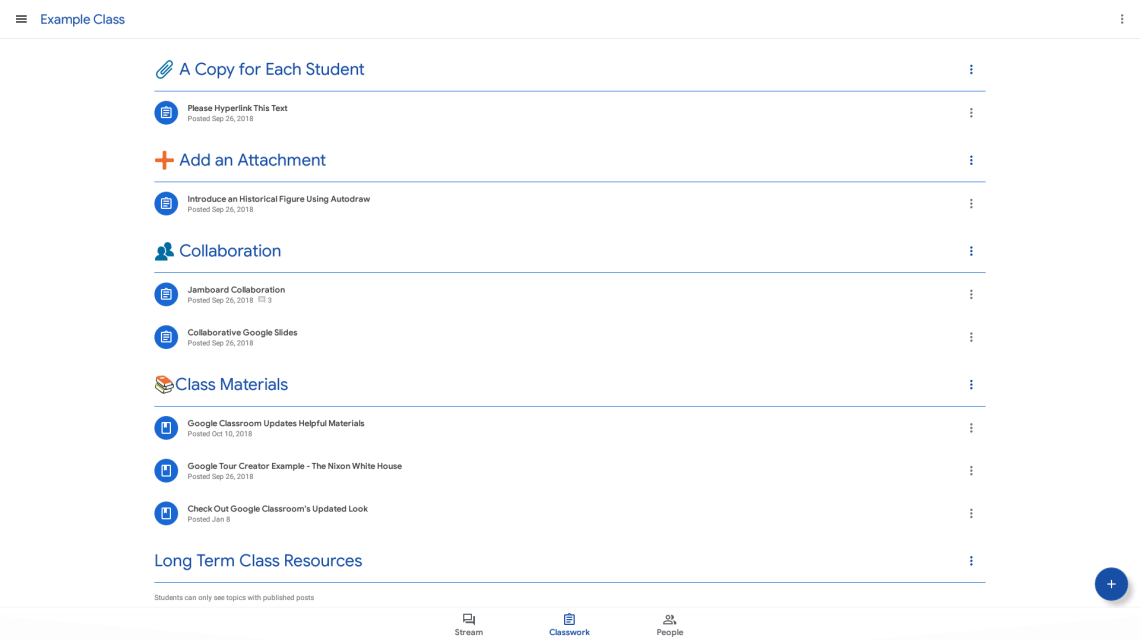 Screenshot of the updated Google Classroom Classwork tab