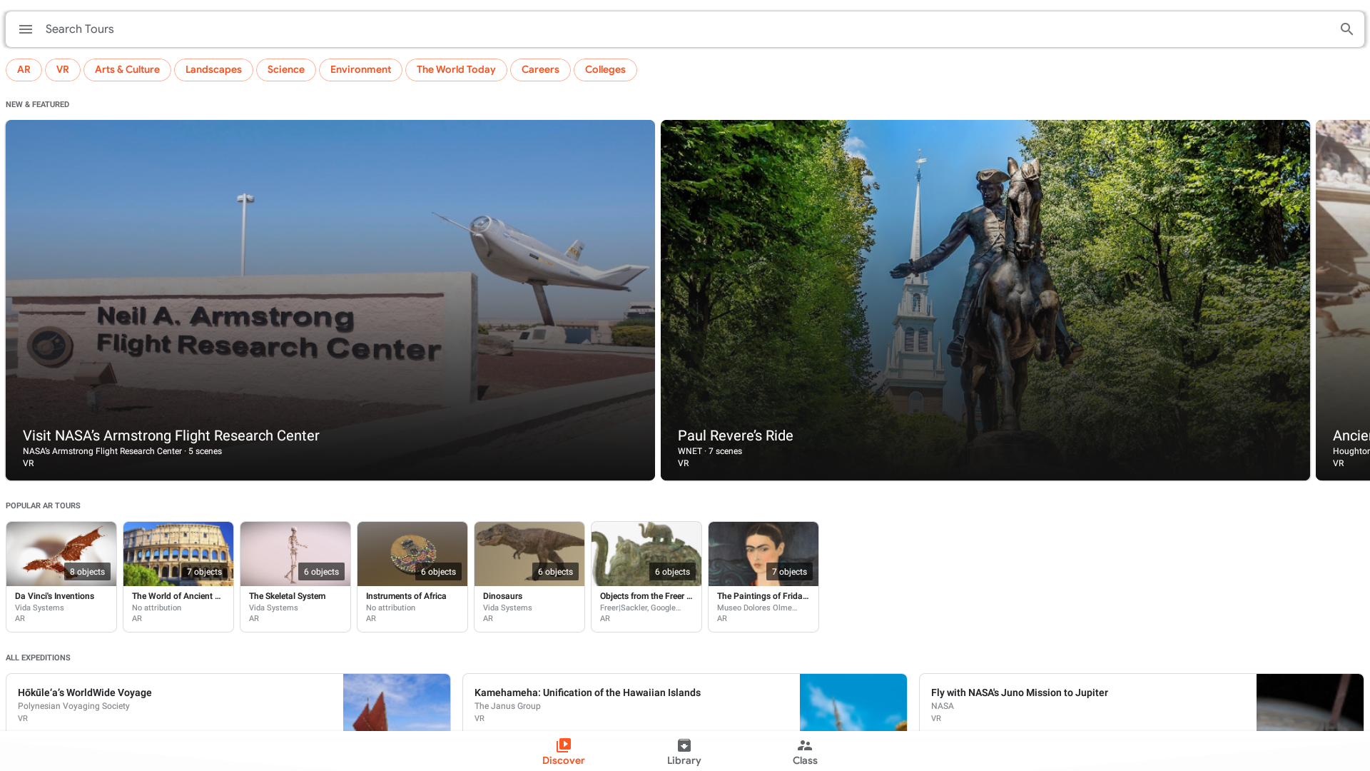 A screen capture of the Google Expeditions home screen.