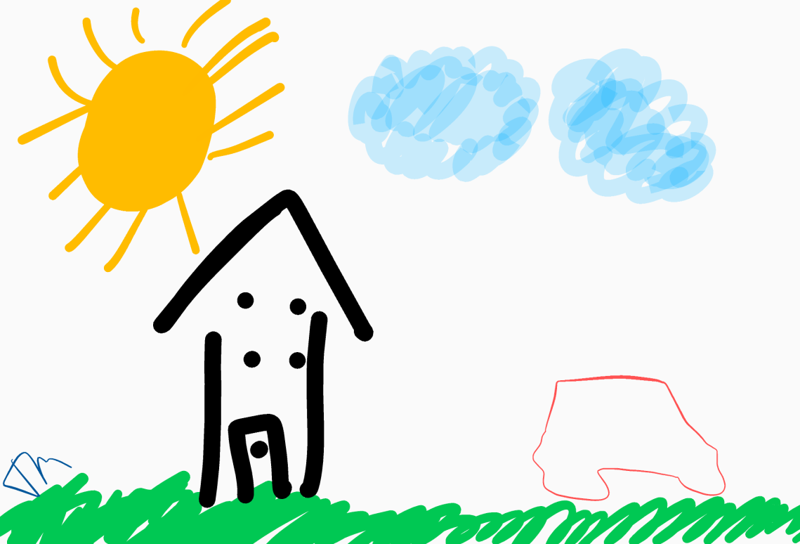 Sketch of a house and car on a sunny day.