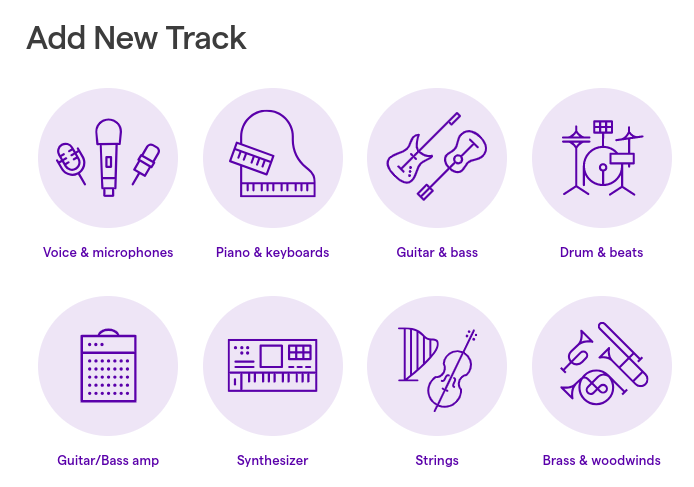 Voice & microphones is the first option when adding a track in Soundtrap.