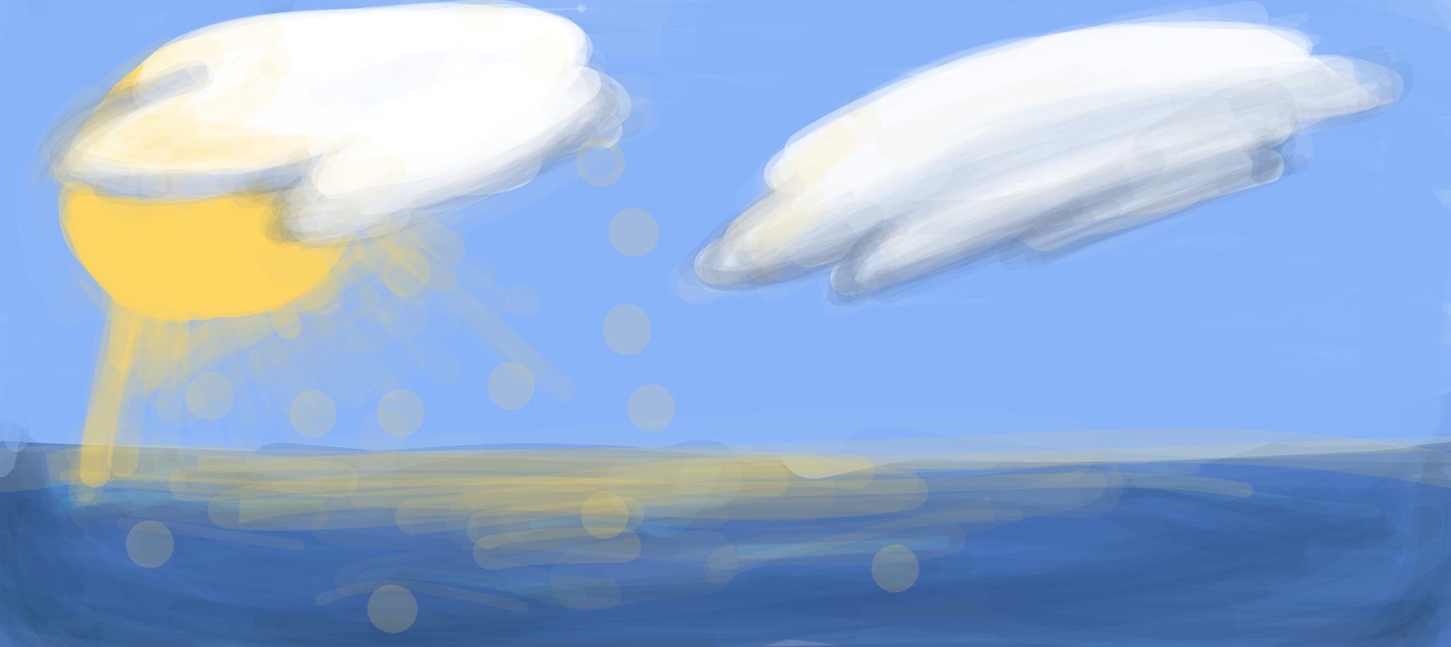 Image of a partly sunny day in the ocean. This was created by a middle school student using Chrome Canvas.