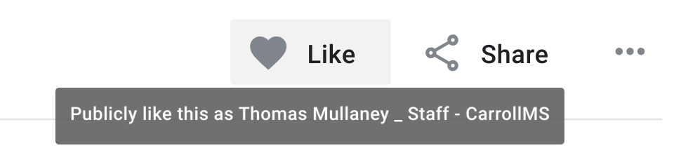 Screen capture of the Like button in a Google Tour Creator tour.