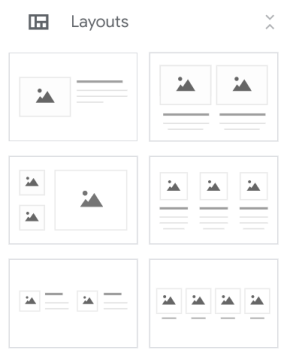 Six Google Sites layout options in the Insert menu.