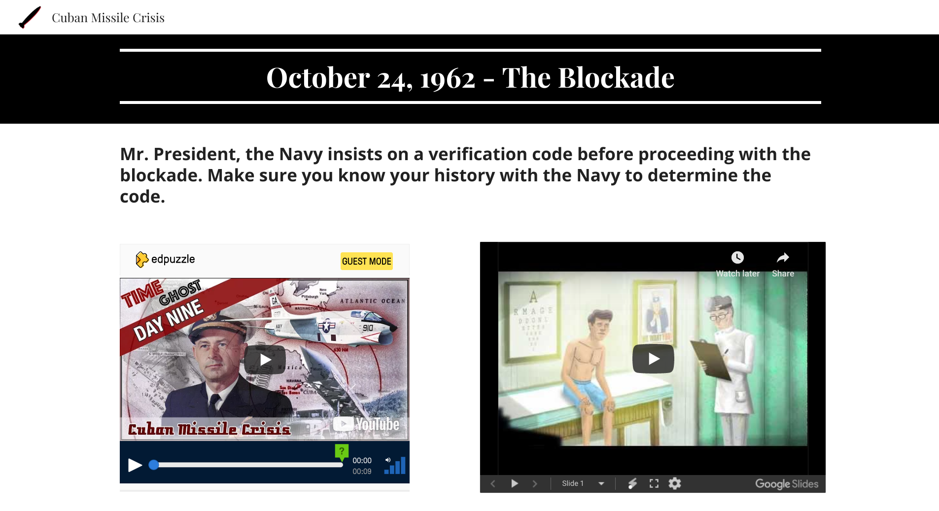 Screen capture of a Google Site with a side-by-side embedded EdPuzzle and Google Slides cropped video.
