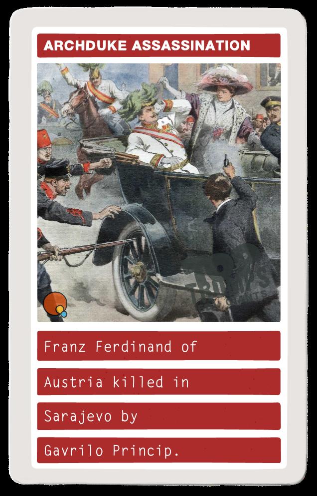 Franz Ferdinand of Austria killed in Sarajevo by Gavrilo Princip.