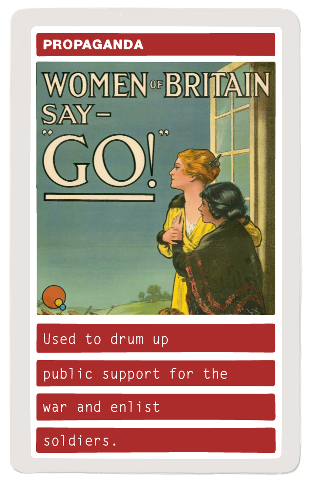 Used to drum up public support for the war and enlist soldiers.