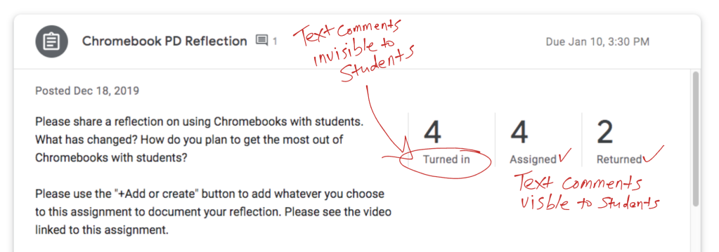 Screenshot showing that text comments are invisible to students when they have submitted work and it has not yet been returned.