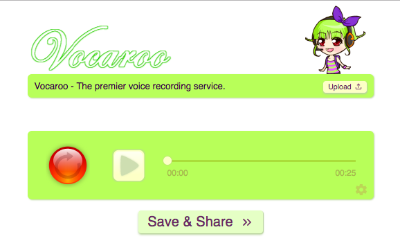 Screen shot of the Vocaroo website. Use the circular red button to record your voice.