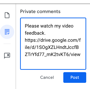 Screen capture of a Google Drive link pasted into a Google Classroom comment field.