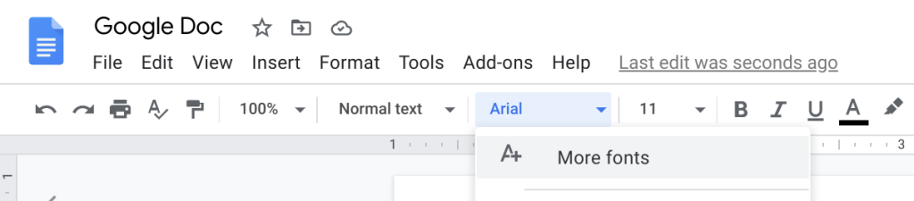 "The Google Docs toolbar. The font is clicked to show ""More fonts."""