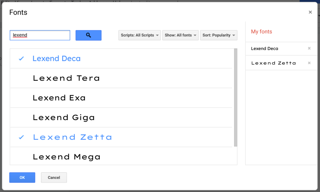 The Fonts dialogue box in Google Docs. Lexend fonts are shown.