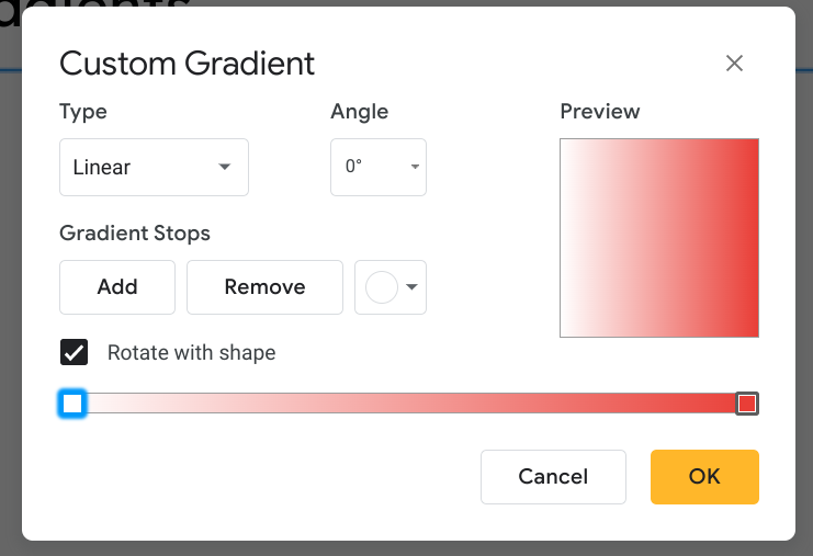 The custom gradient menu allows users to design custom gradients in Google Drawings and Slides.