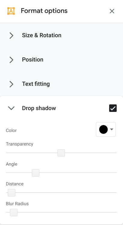Drop Shadow in the Format Options Menu