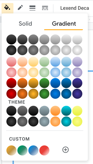 The gradient options are next to the solid options in the Google Drawings and Slides color menus.