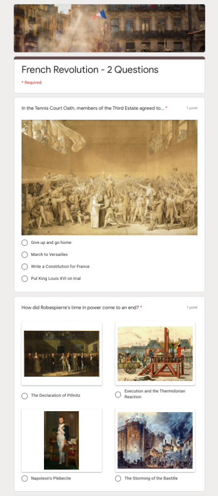 A Google Form that has:  - A header image - An image in a question - Images for each answer choice in a multiple choice question