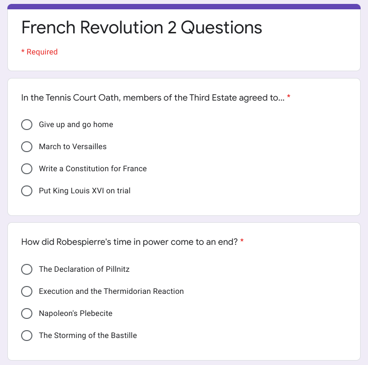 A Google Form without images.