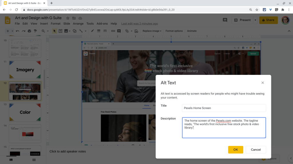 The Google Slides editor with the ALT text dialogue box.