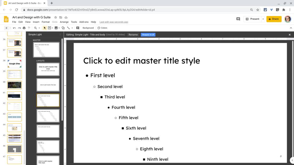 Google Slides Master Slide