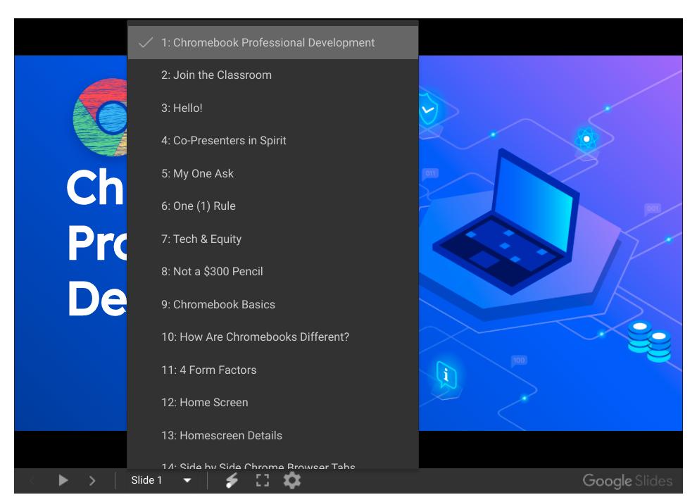 Google Sides Presentation Mode Slide Menu