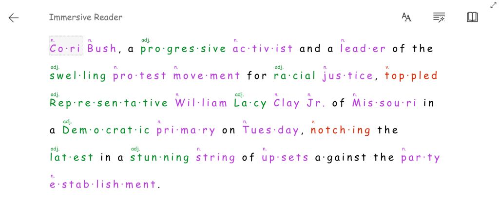 Text in Immersive Reader. Parts of speech are color-coded and labelled. Words are broken into syllables.