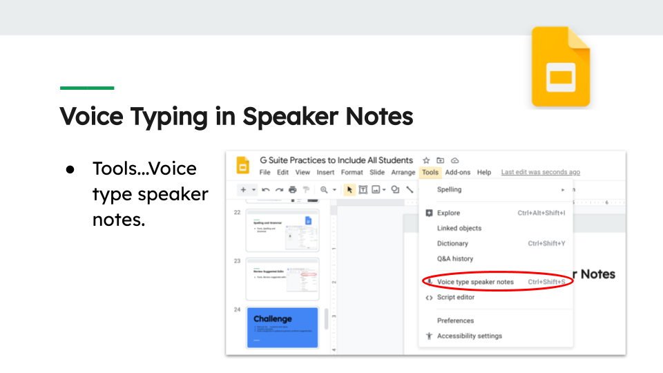 Voice Typing in Speaker Notes Tools...Voice type speaker notes.