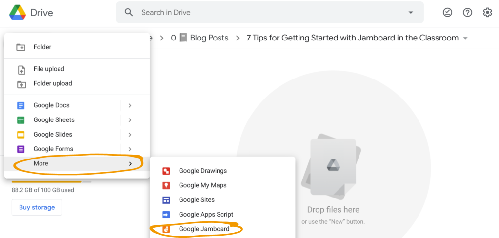 "In Google Drive, click ""New"" then ""More"" then ""Google Jamboard to create a Jam in a Drive folder."