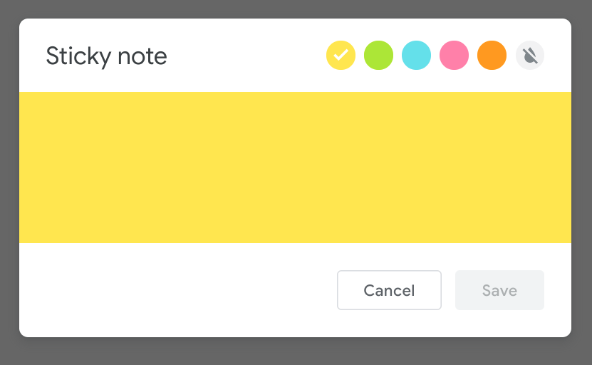 The sticky note in editor in Jamboard. Color options are yellow, green, blue, pink, orange, and transparent.