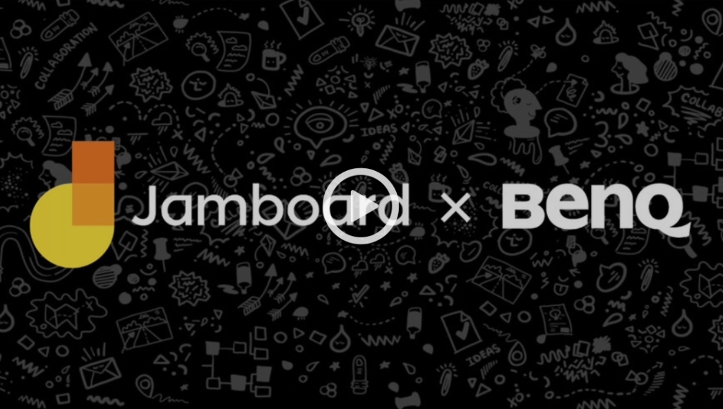 Jamboard and BenQ video with a play button. Image links to the webinar. Free registration required.