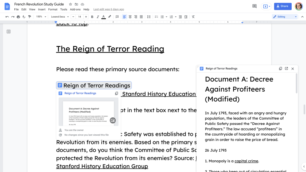 A preview panel of a Google Docs file in a Google Doc.