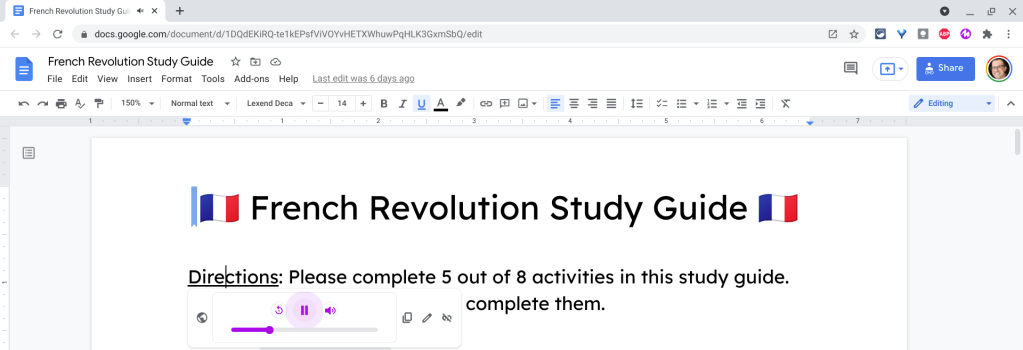 Hyperlinked text plays audio in Google Docs because of the Mote Google Chrome extension.
